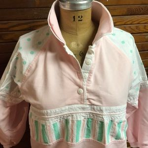 Tops - VINTAGE Pink/White/Mint Green quarter length top